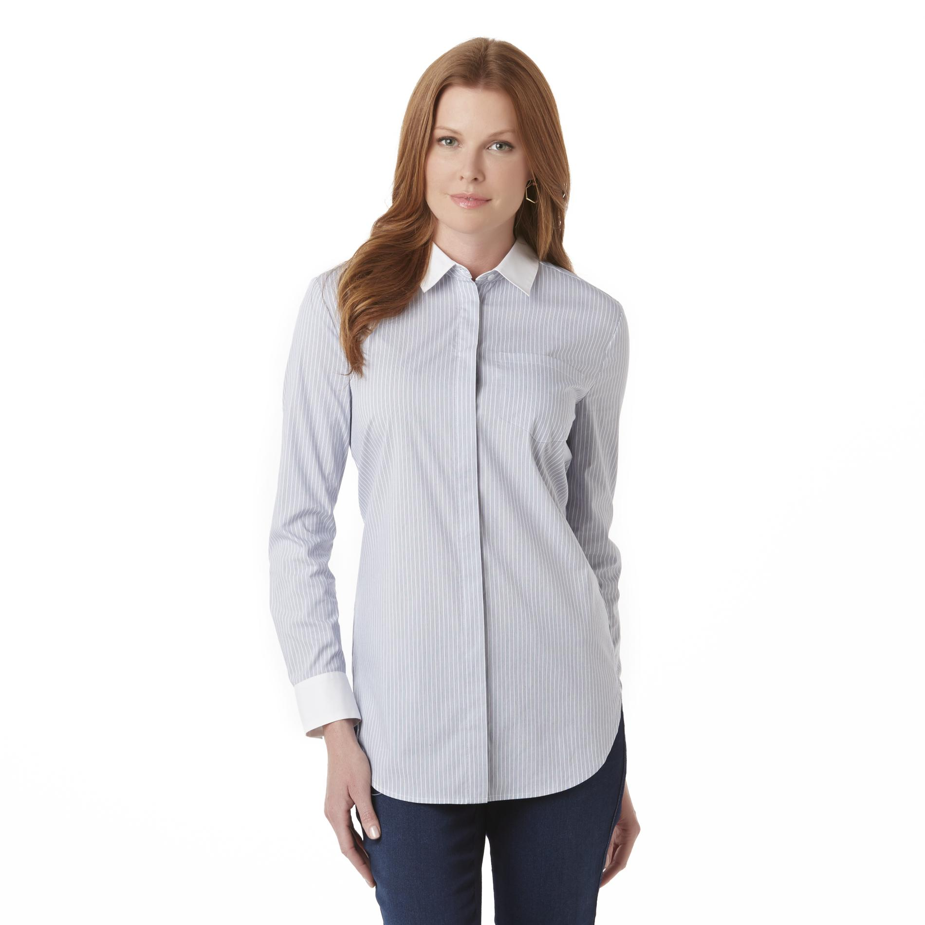 Women's Button-Front Blouse - Striped