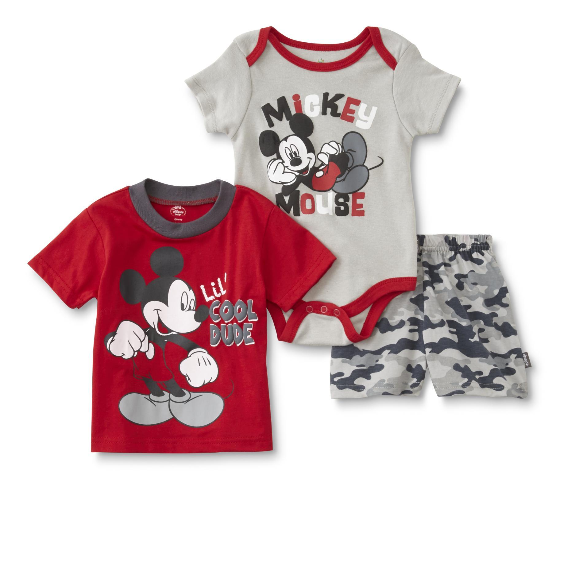 Disney Baby Mickey Mouse Infant Boy's T-Shirt, Bodysuit & Shorts