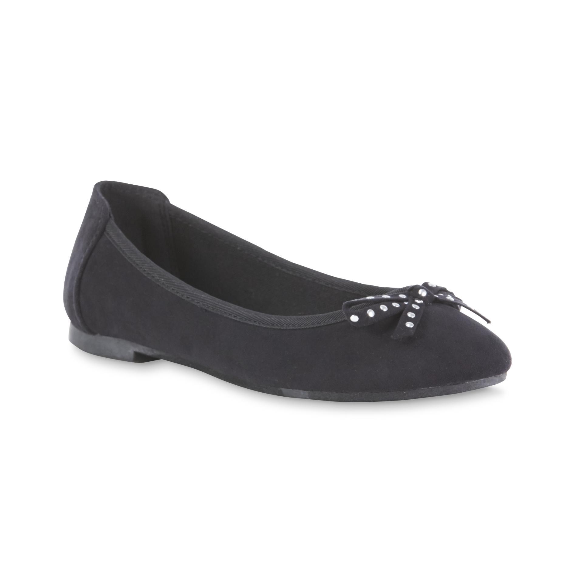 Girl's Kendra Black Bow Ballet Flat