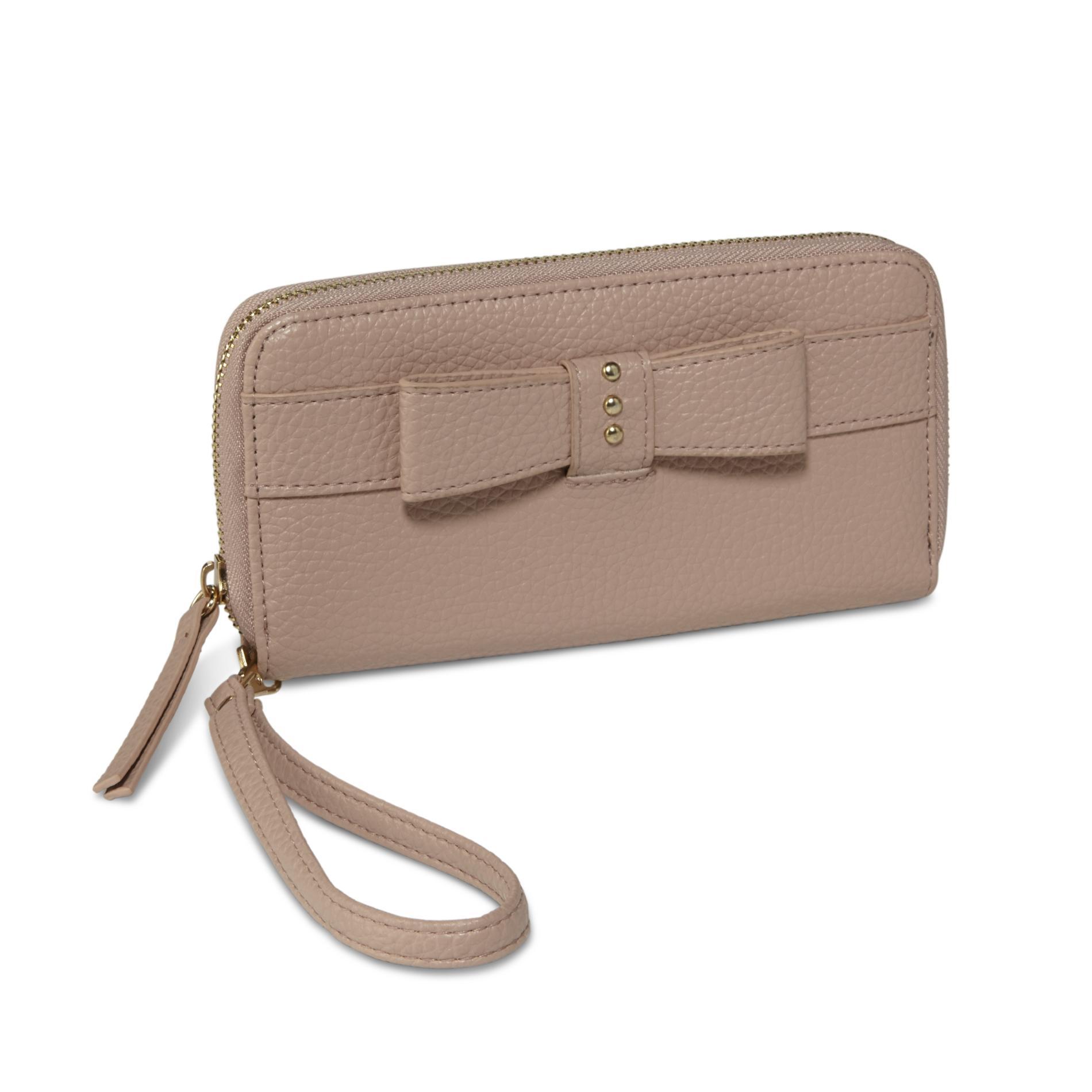 Women's Bow Zip Around Wallet, Black
