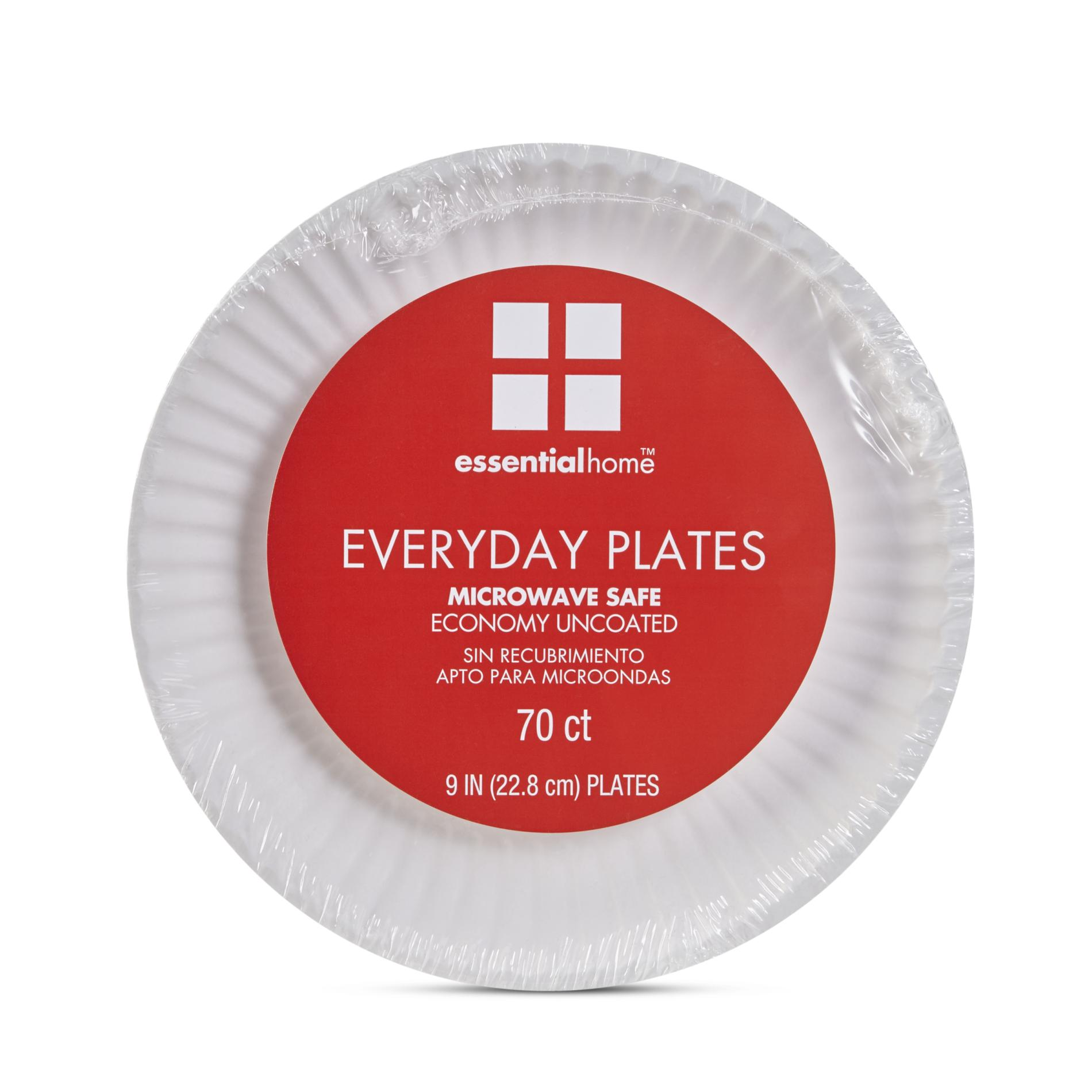 Essential Home Everyday Paper Plates - 70 Count, White im test