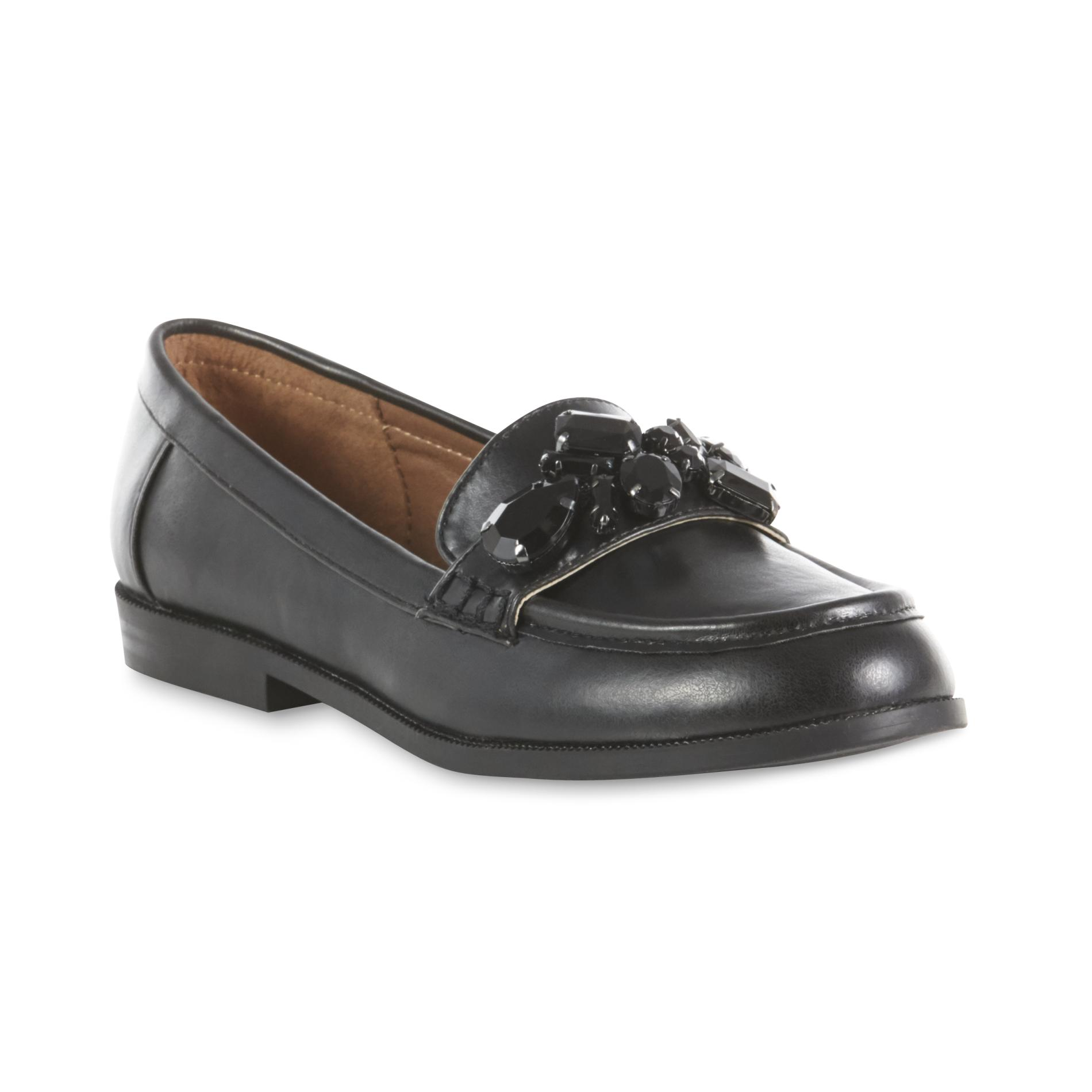 Attention Women's Tabitha Black Embellished Loafer