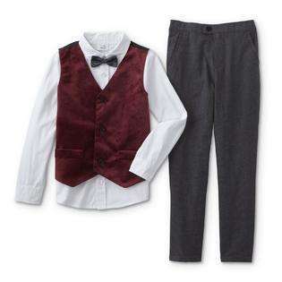 b2f2d1cd17e8 Toughskins Infant & Toddler Boys' Vest, Dress Shirt, Bow Tie & Pants
