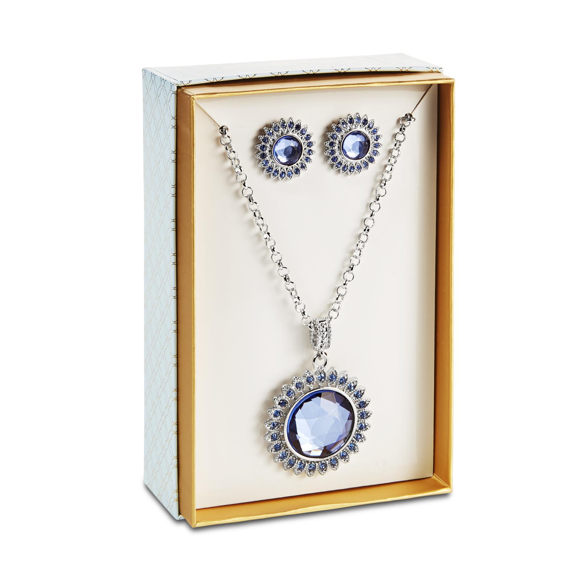 Jaclyn Smith Women's Silvertone Pendant Necklace & Stud Earrings