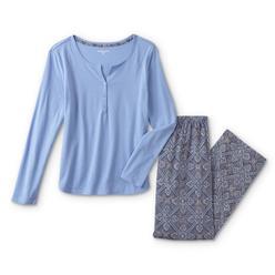 Laura Scott Women s Henley Pajama Shirt   Pants - Geometric 9384321e7