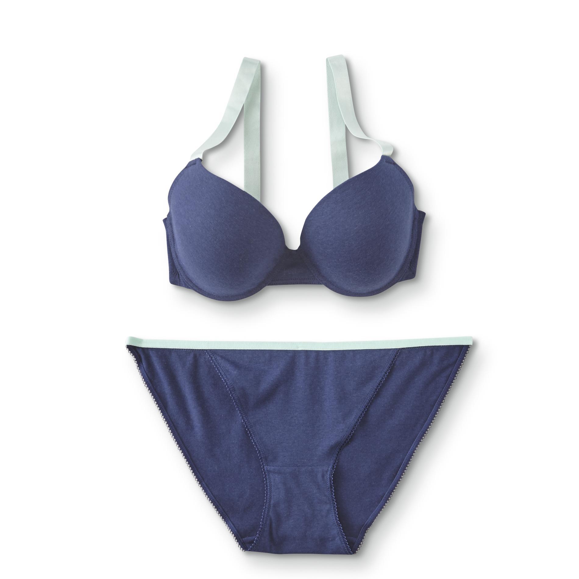 Image of Women's Full-Figure Push-Up Bra & String Bikini Panties, Size: 40, Medieval Blue