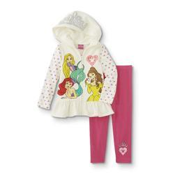 217fc541a2d9e Disney Princess Infant & Toddler Girls' Hoodie Jacket & Leggings -  Hearts/Crown
