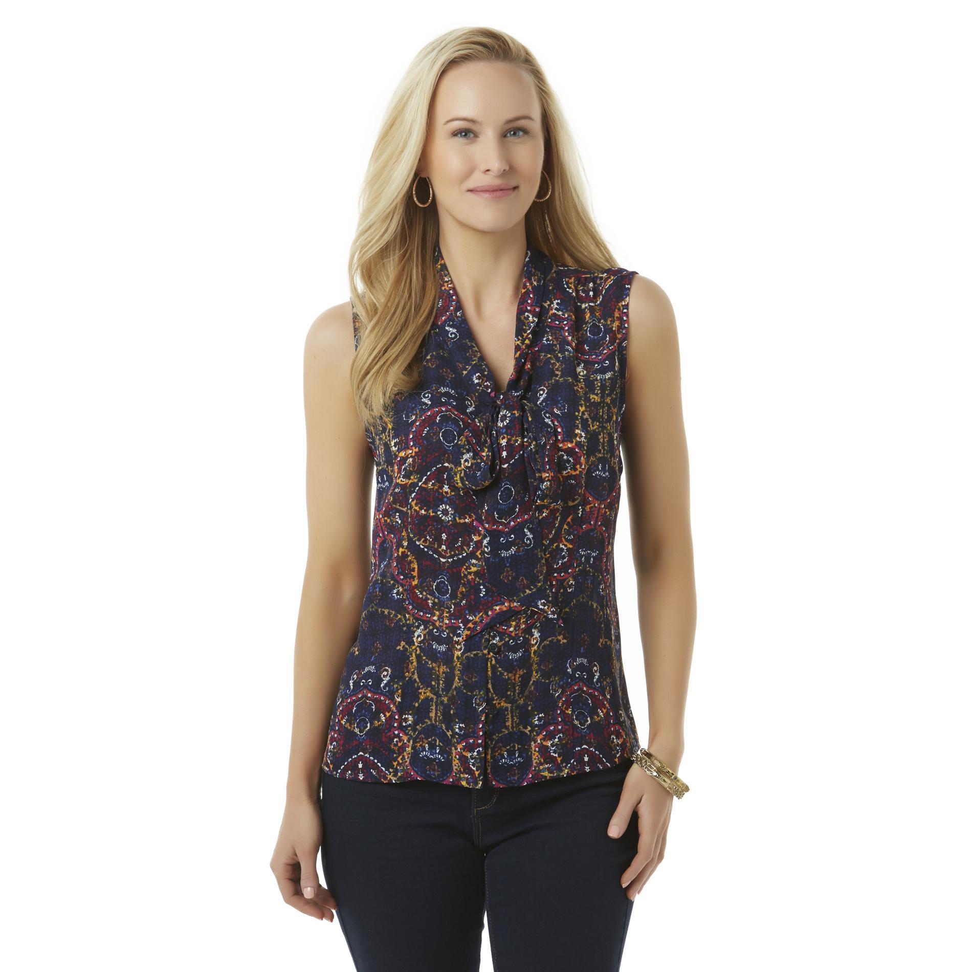 Covington Women's Sleeveless Tie Blouse - Scarf Print