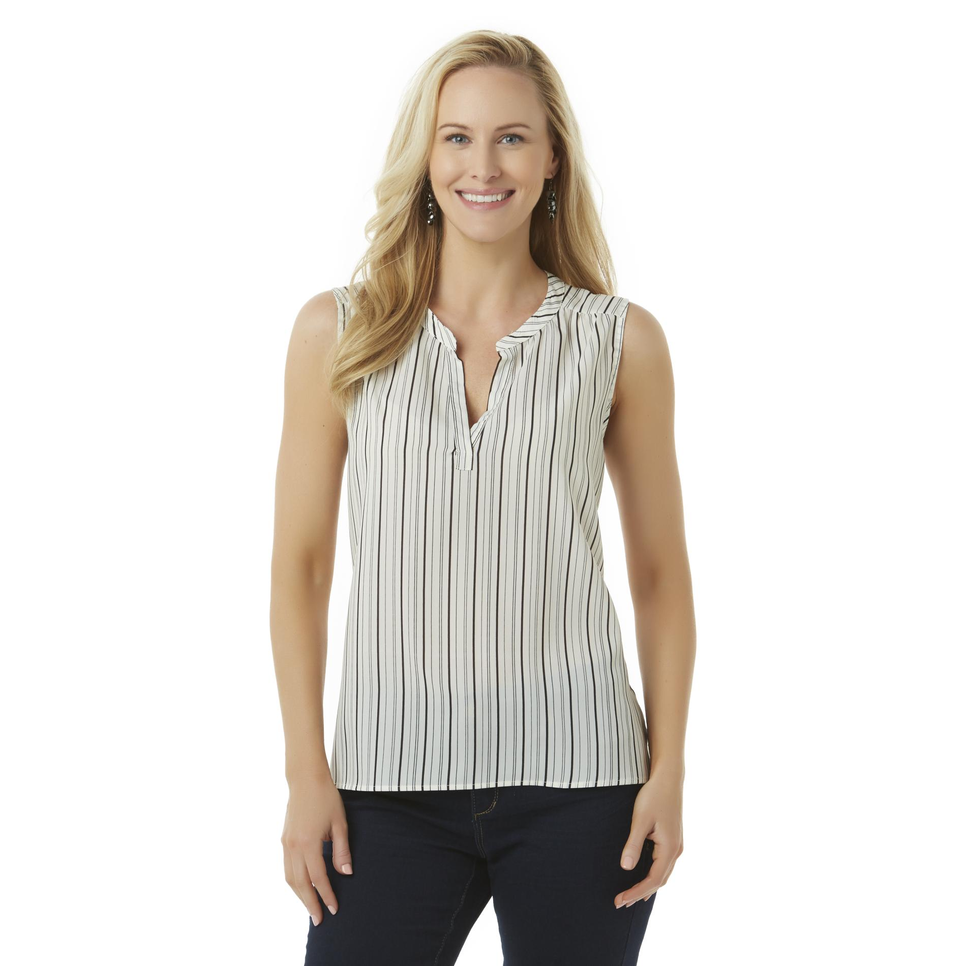 Simply Styled Women's Sleeveless Blouse - Striped