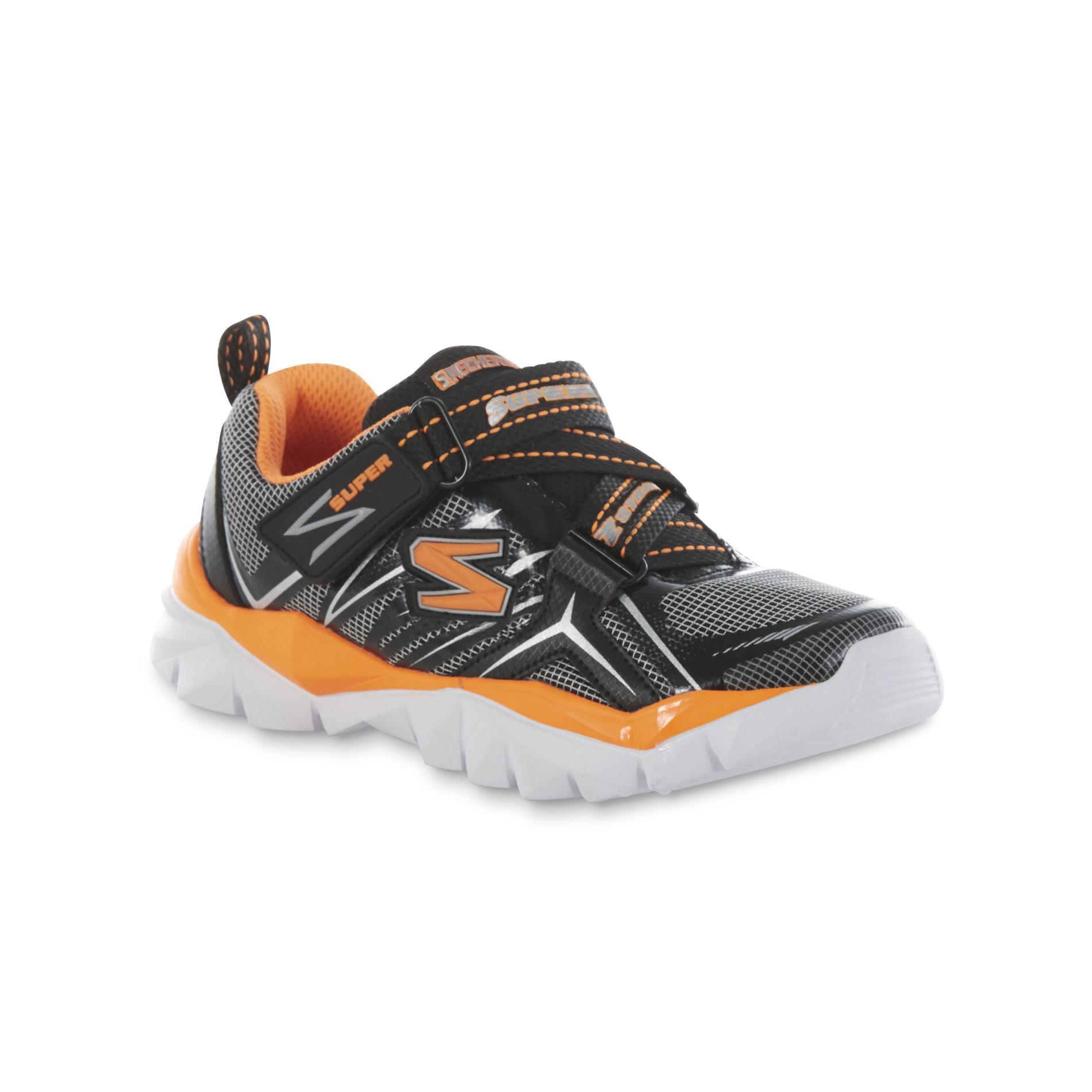 Skechers Boy s Electronz Black White Orange Athletic Shoe