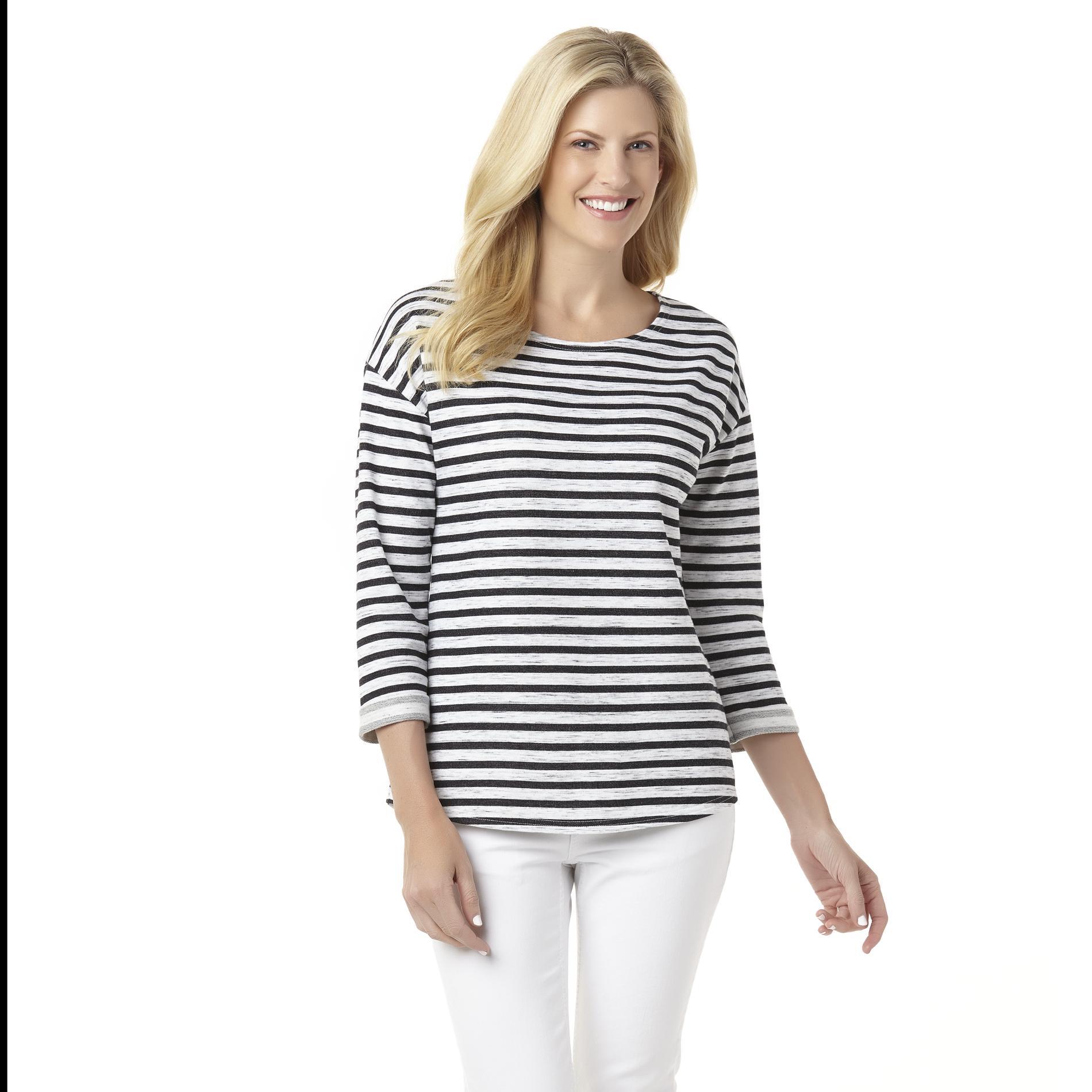 Basic Editions Women's Lightweight Sweatshirt - Striped