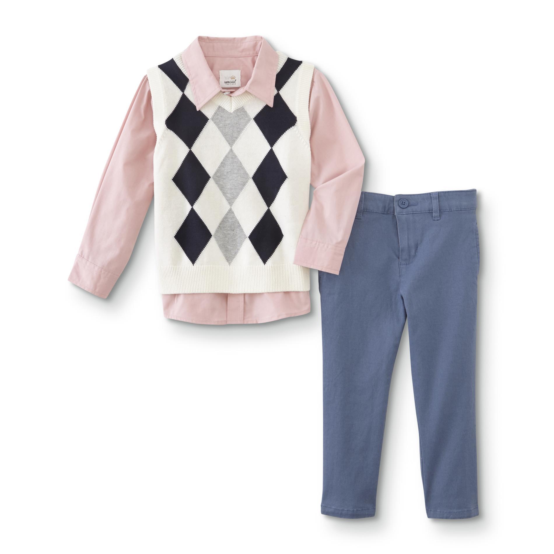 WonderKids Infant and Toddler Boys' Shirt, Vest & Pants, Size: 4T, Multi-color