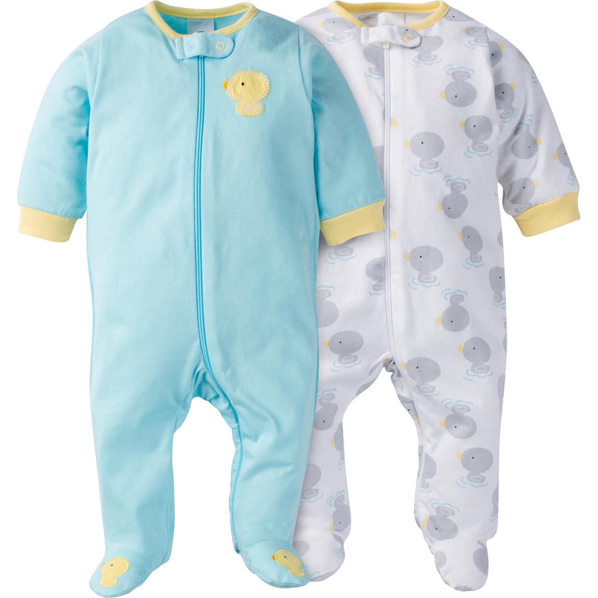c5e9792f4f61 Gerber Newborn s 2-Pack Sleeper Pajamas - Ducks
