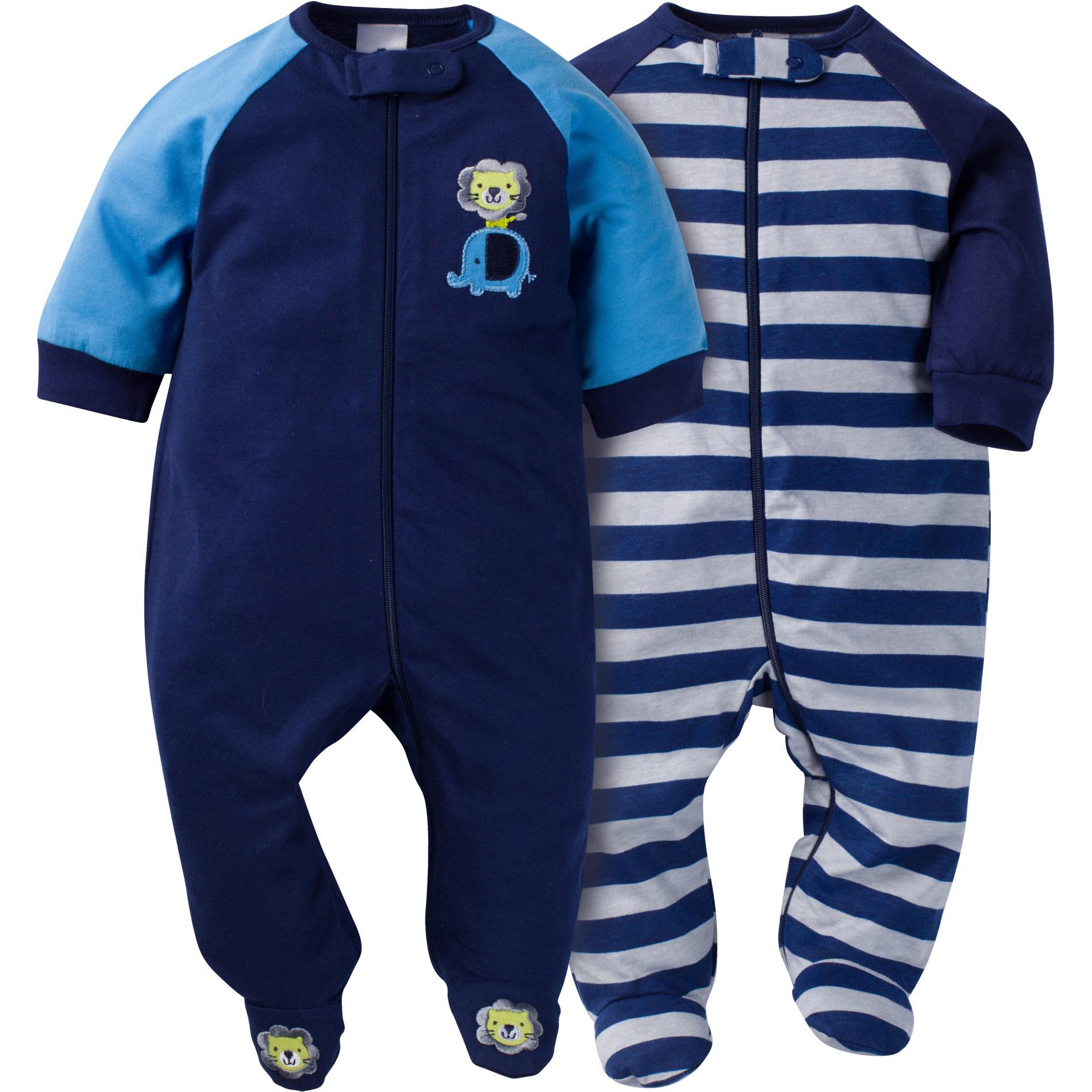 50760d455b2f Gerber Newborn Boy s 2-Pack Sleeper Pajamas - Safari   Striped