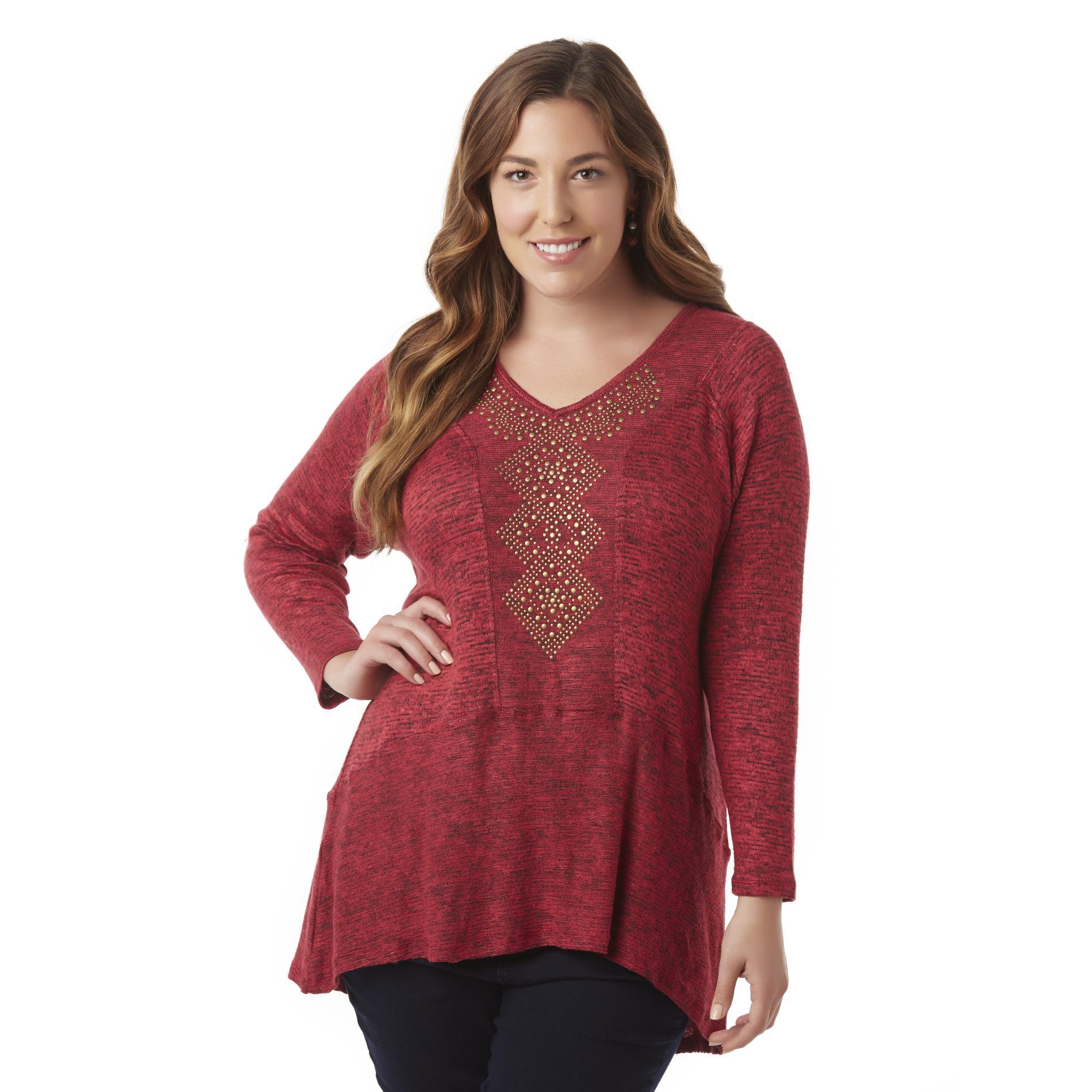 Women's Plus Embellished Tunic Sweater
