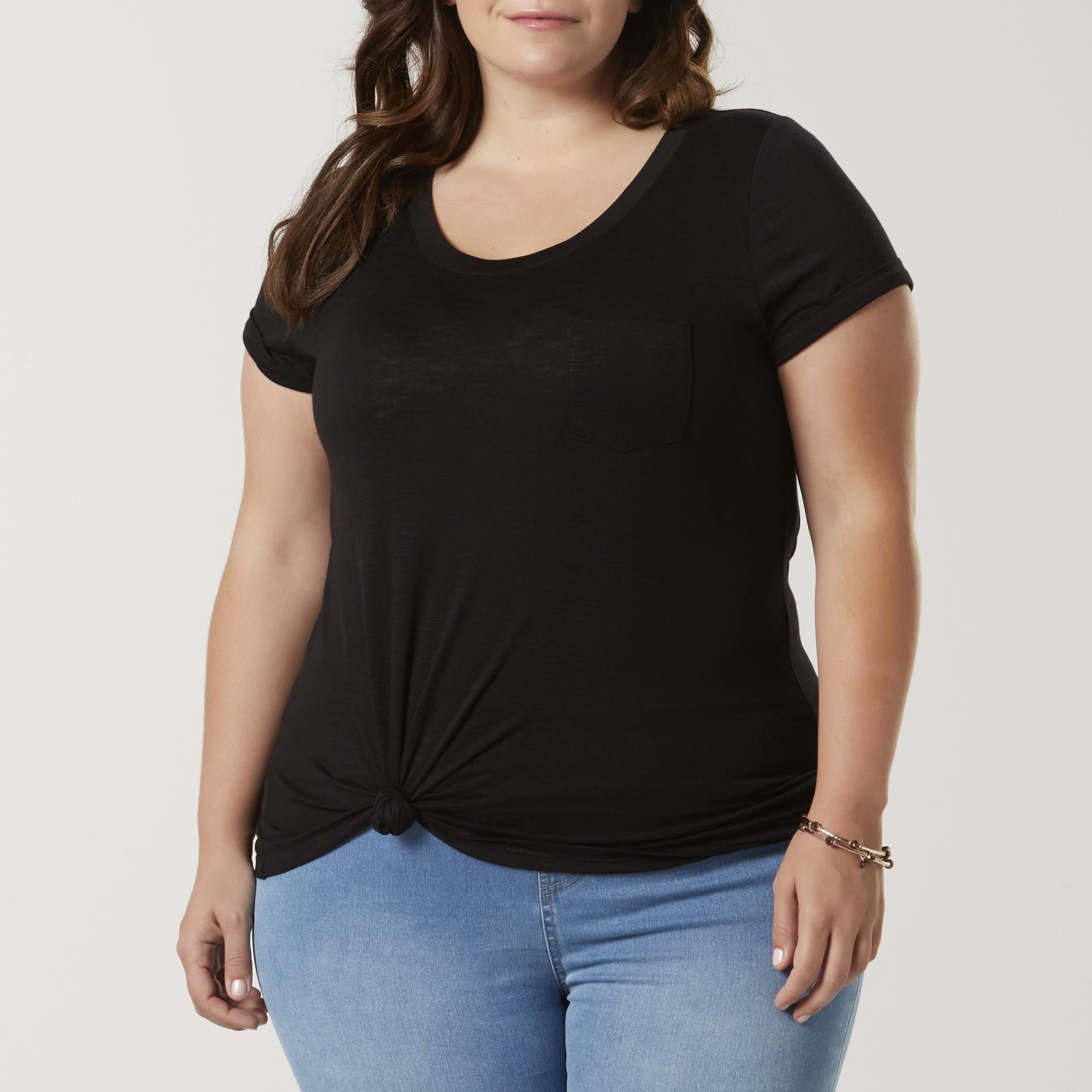 Simply Emma Women's Plus Pocket T-Shirt, Size: 1XL, Black Black