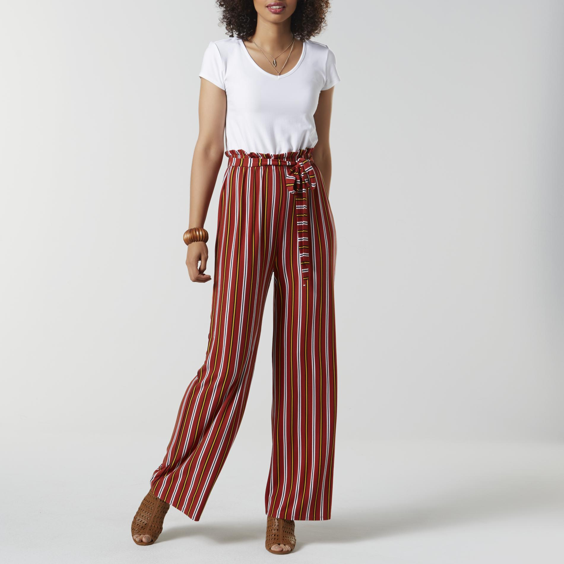 Juniors' Jumpsuit - Striped, Size: Small, Red Brown
