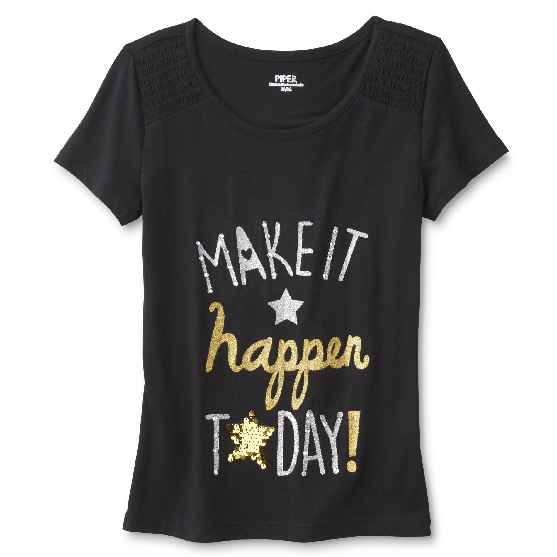 Girl's Embellished T-Shirt - Make It Happen