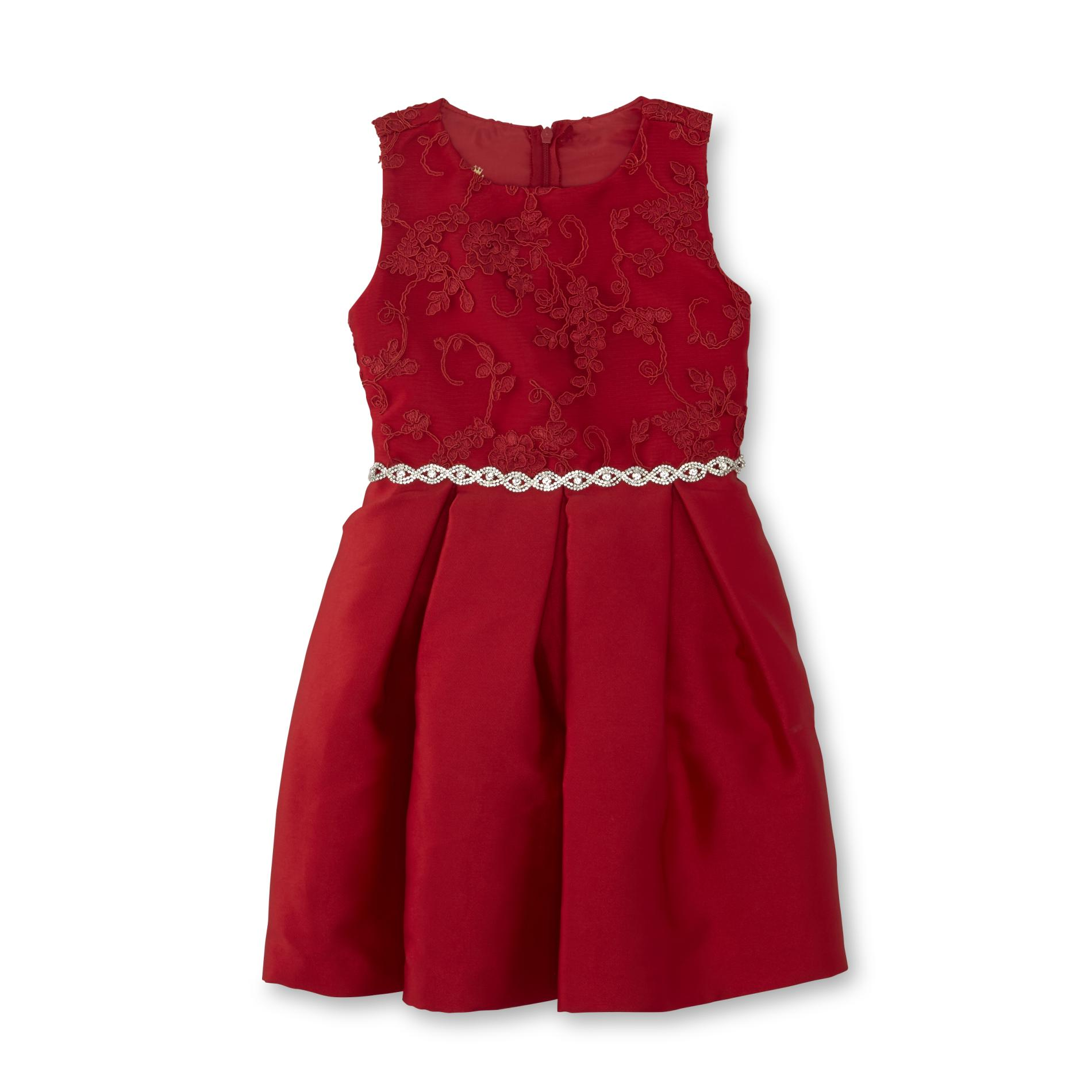 Special Editions Girls' Embellished Occasion Dress, Size: 4, Red im test