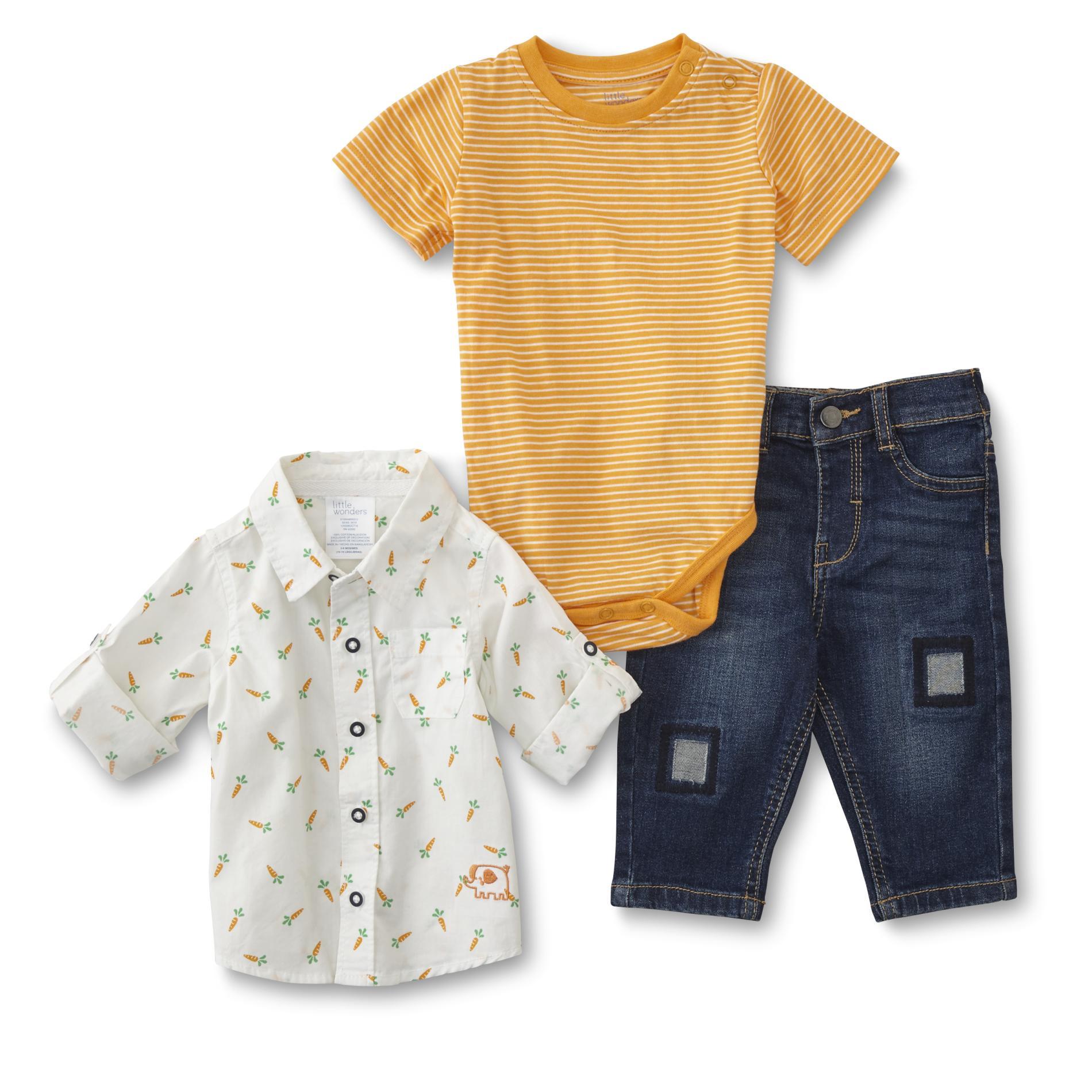 Little Wonders Infant Boys' Bodysuit, Shirt & Jeans - Striped & Elephant, Size: Newborn, Multi-color im test
