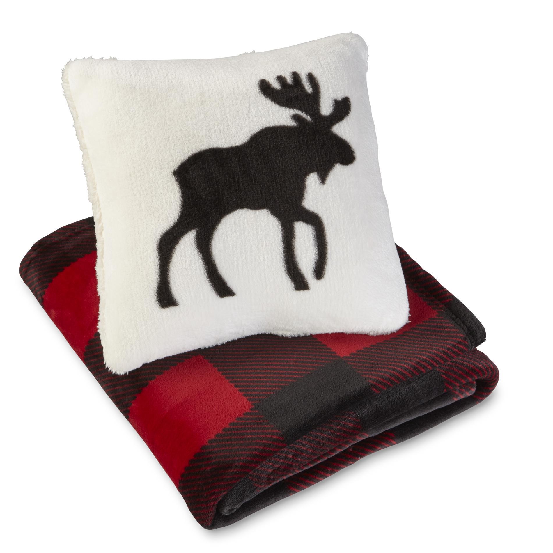 Throw Pillows Kirklands : Cannon Pillow & Throw Set - Moose & Plaid - Kmart