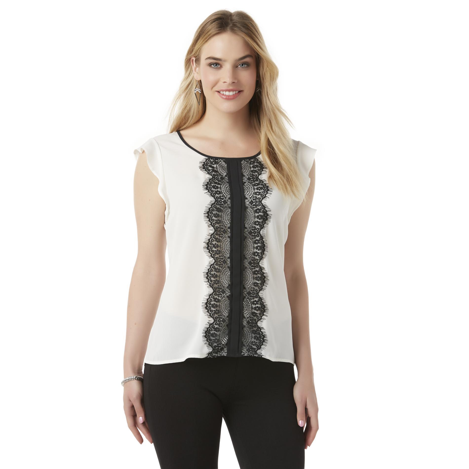 Women's Flutter-Sleeve Blouse - Lace
