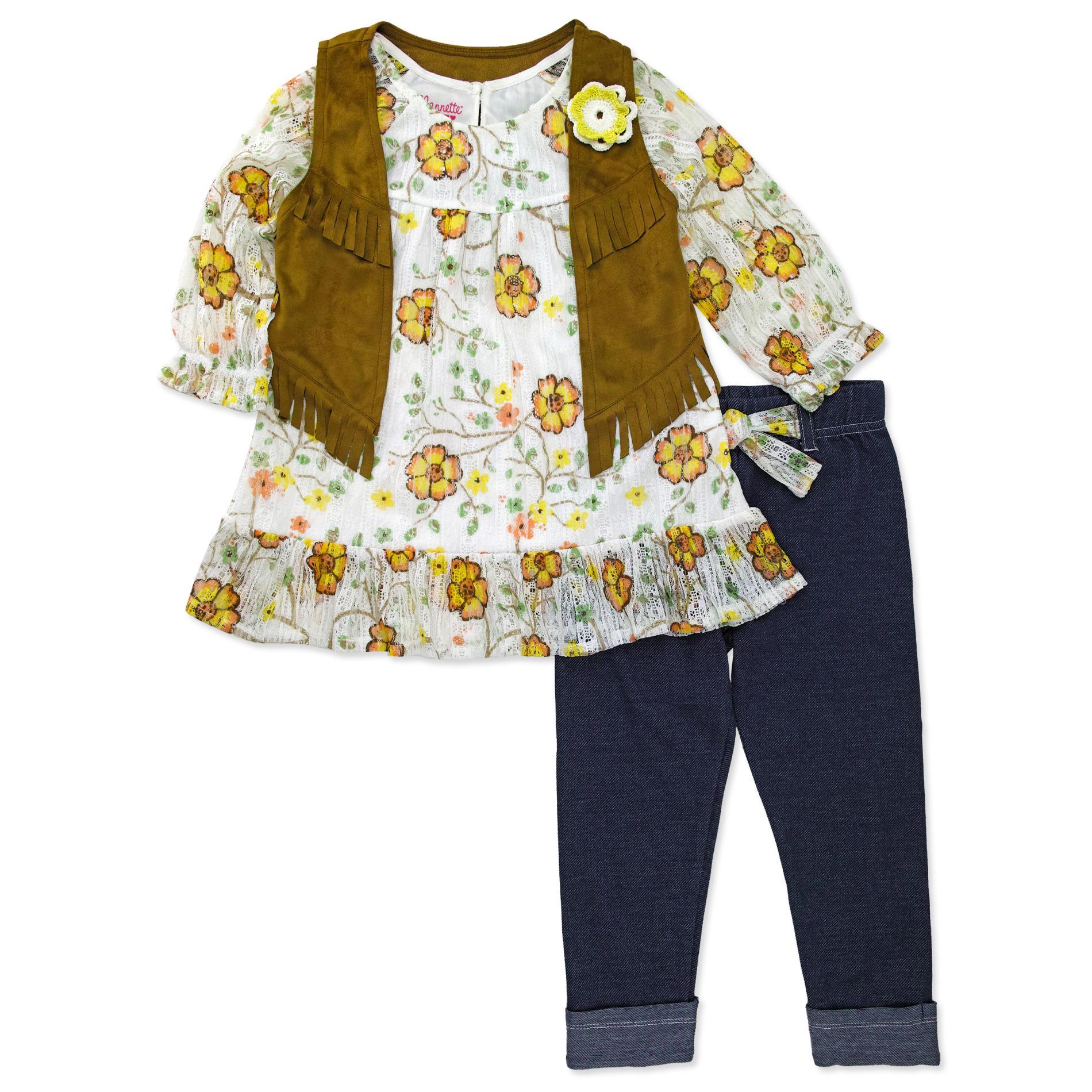 Nanette Girls' Crinkled Top & Pants - Floral