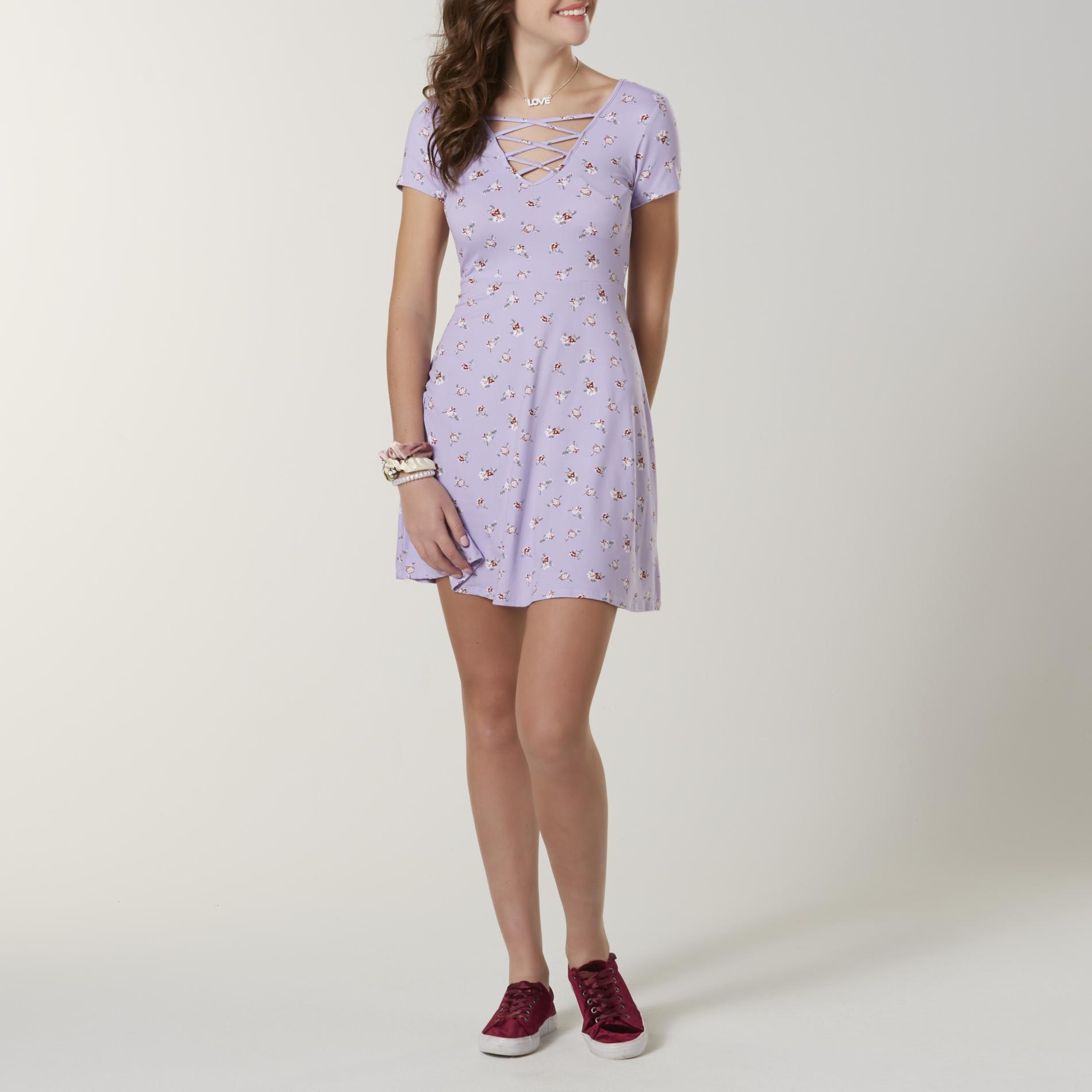 Joe Boxer Juniors' Skater Dress - Floral, Size: Small, Pastel Purple
