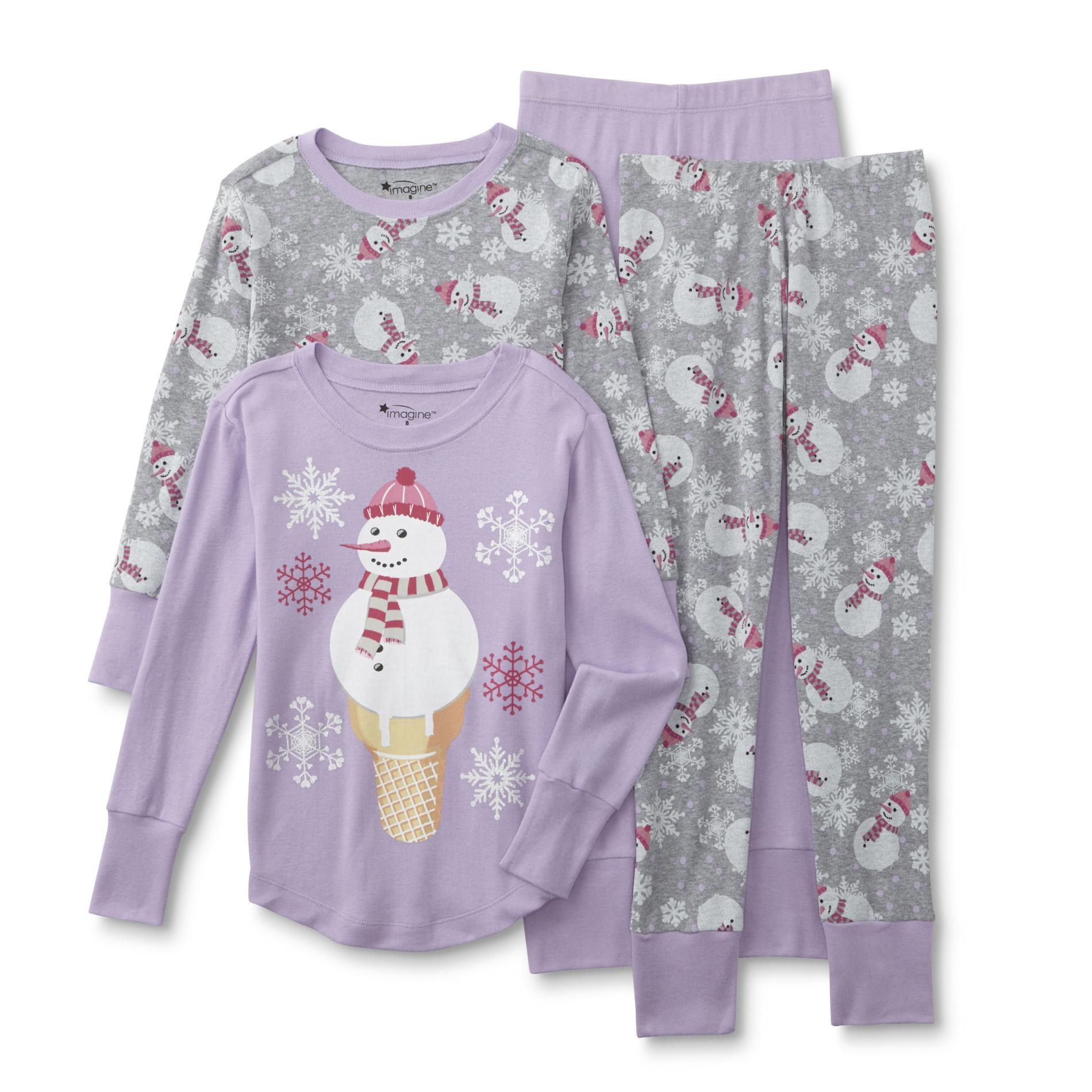 Girls' 2-Pairs Christmas Pajamas - Snowman