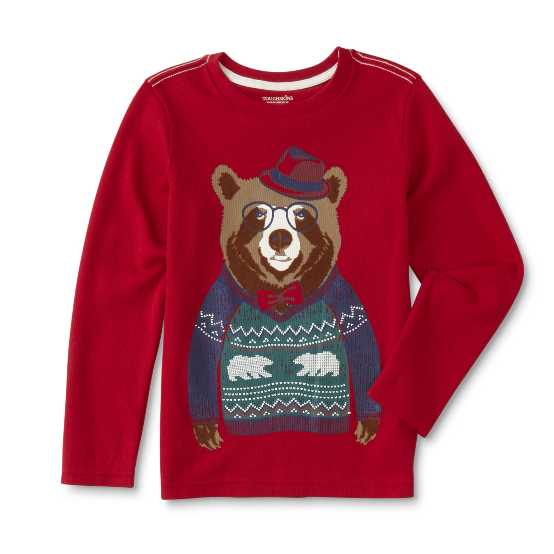 Toughskins Boys' Thermal Graphic T-Shirt - Bear, Size: Large, Tango Red 04049410039