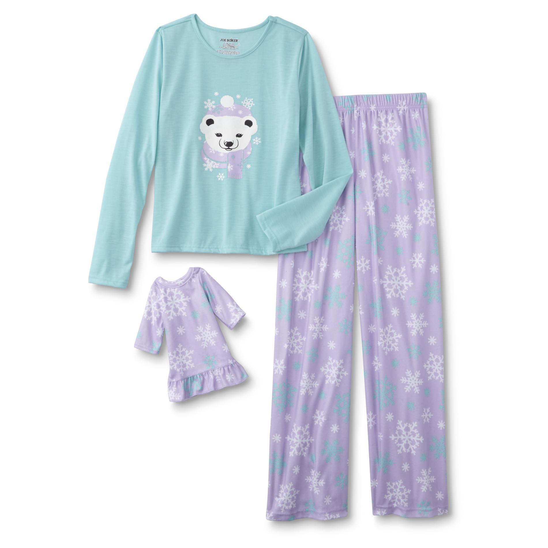 Girls' Pajama Top, Pants & Doll Nightgown - Polar Bear