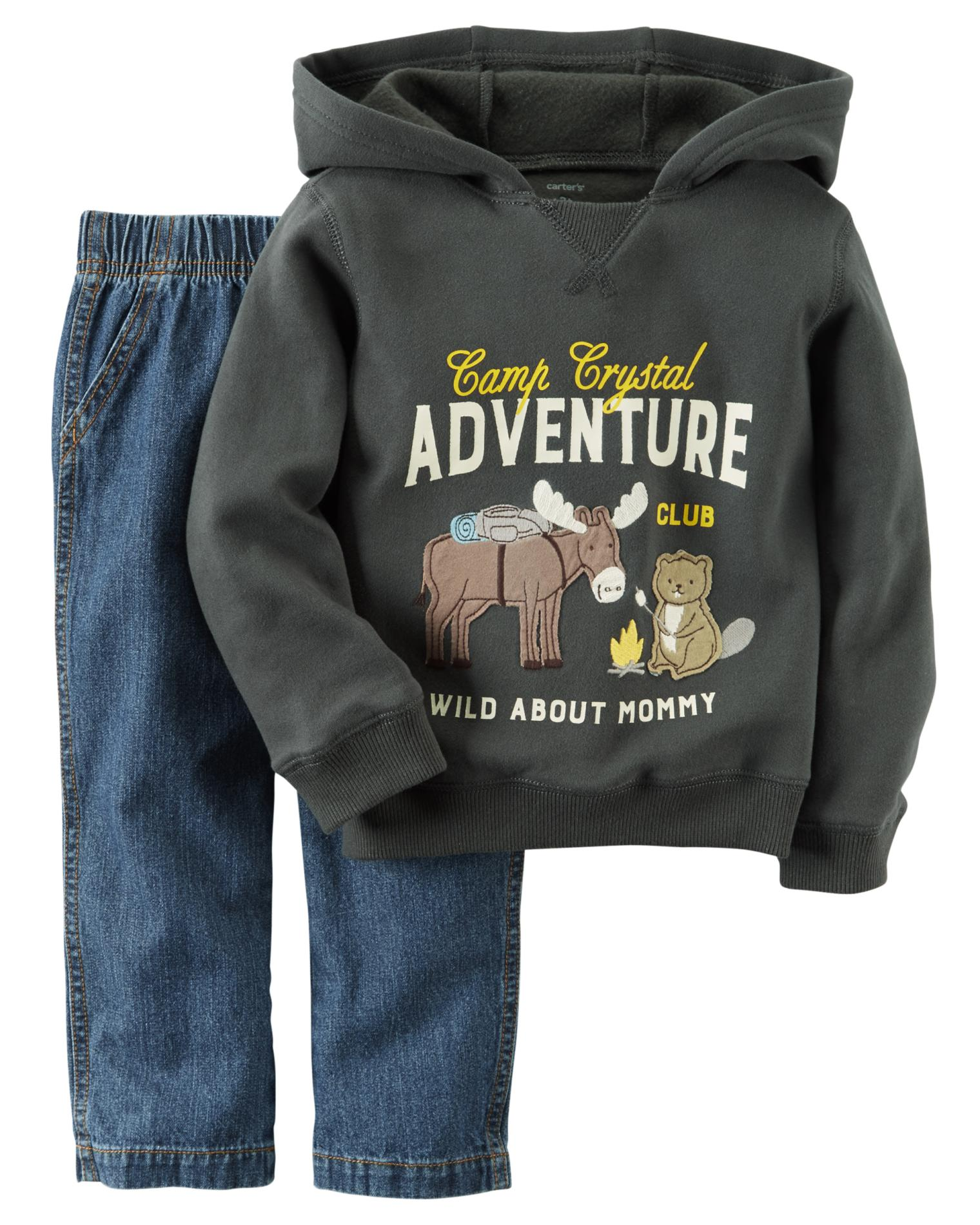 Carter's Newborn & Infant Boys' Graphic Hoodie & Jeans - Wild About Mommy PartNumber: 029VA92898212P MfgPartNumber: 229G265