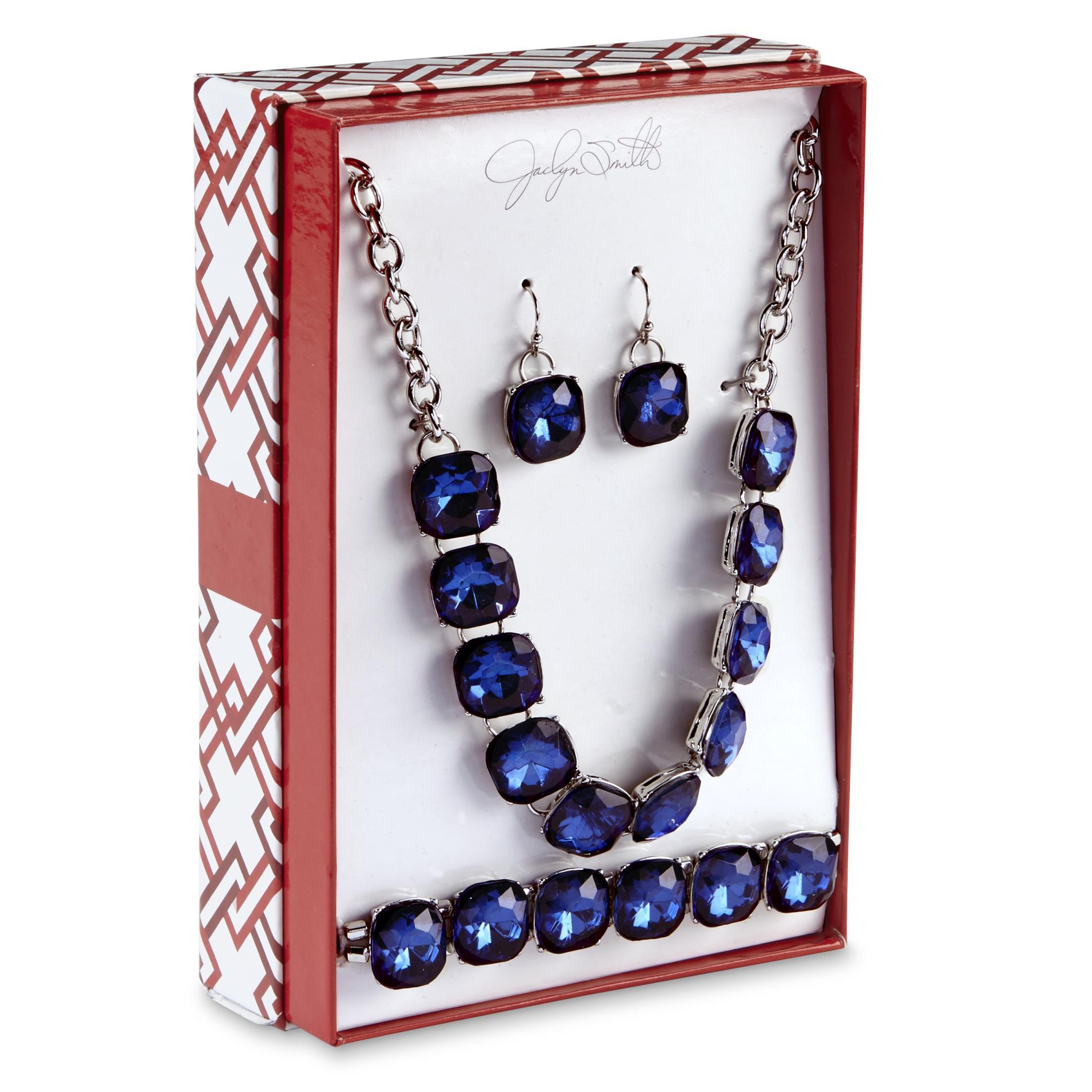 Women's Silvertone Necklace, Earrings & Bracelet