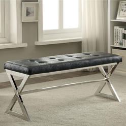 furniture of america zalen tufted faux leather chrome bench