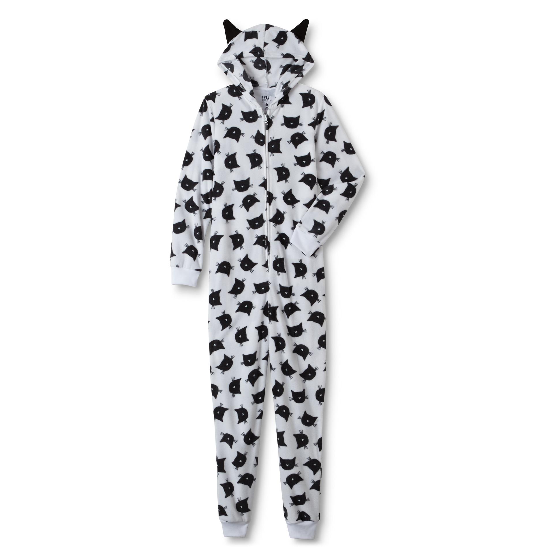 Junior's Hooded One-Piece Pajamas - Cat