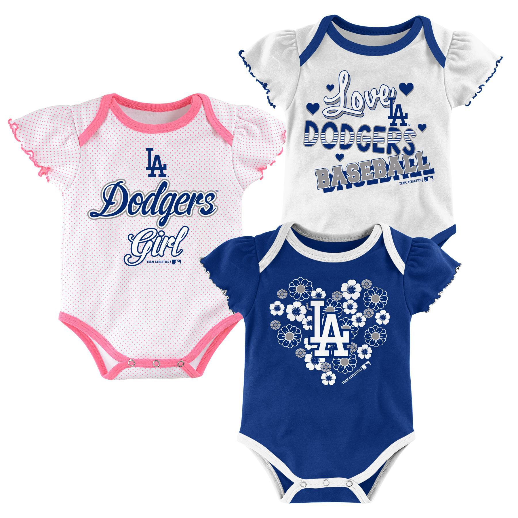 Mlb Newborn Infant Girls 3 Pack Bodysuits Los Angeles Dodgers