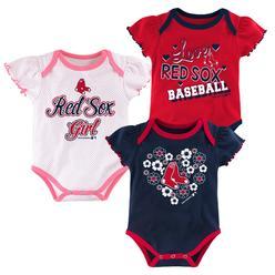 e71b5077b5e MLB Newborn   Infant Girls 3-Pack Bodysuits - Boston Red Sox