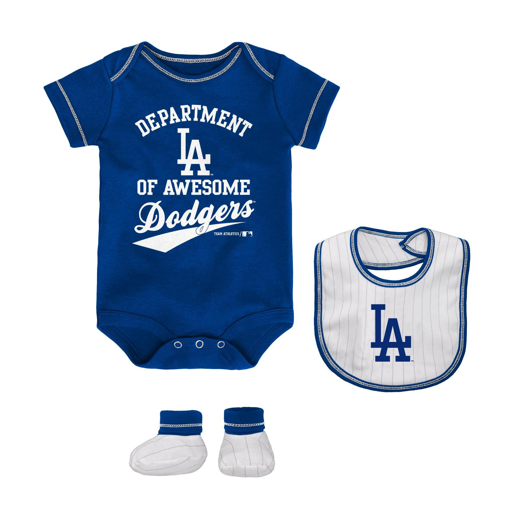 Mlb Newborn Infant Boys Bodysuit Bib Booties Los Angeles Dodgers