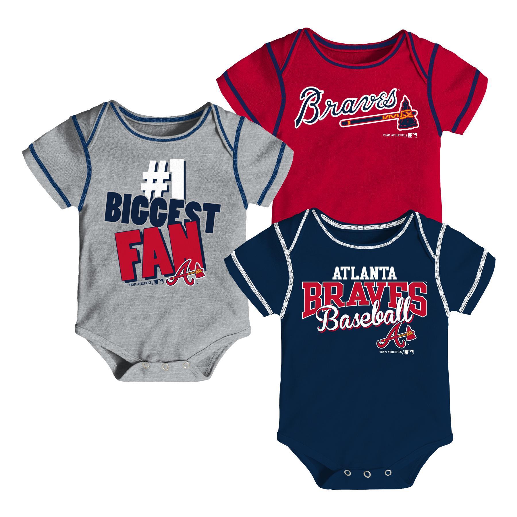 MLB Newborn & Infant Boys' 3-Pack Bodysuits - Atlanta Braves, Size: 18 Months im test