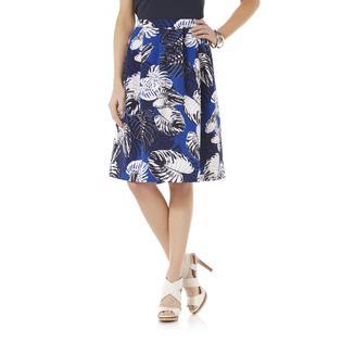 Metaphor Women's Pleated Scuba Knit Skirt - Floral