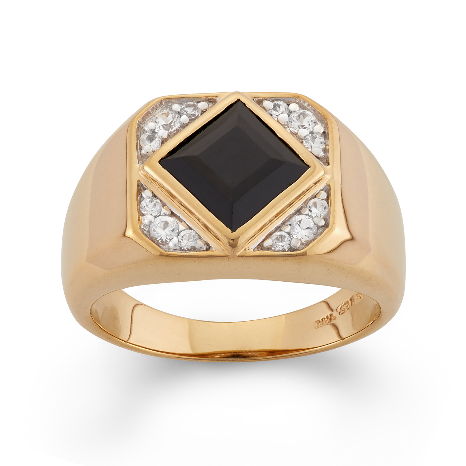 Men's Black Onyx and White Sapphire Gold Over Sterling Silver Ring