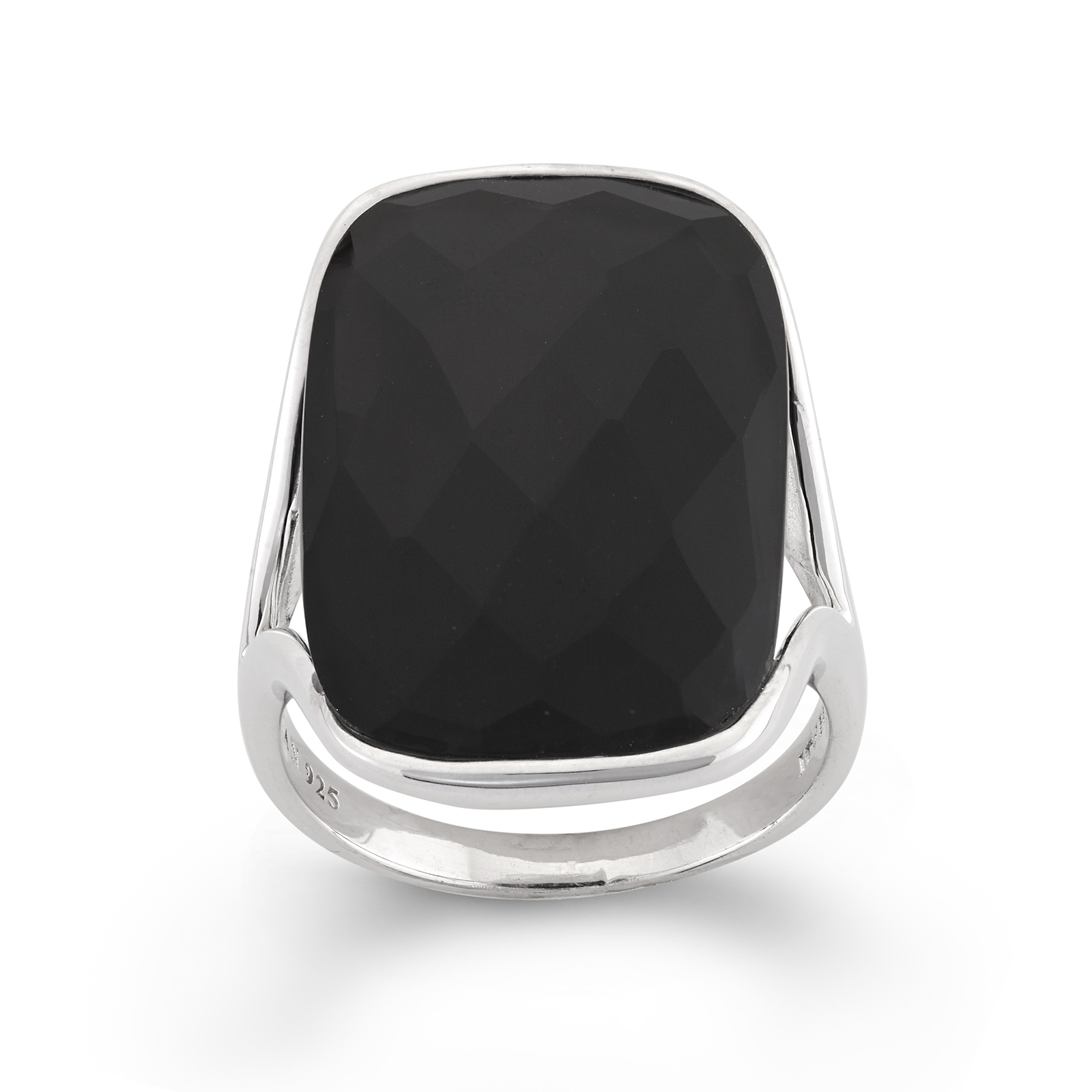 Black Onyx Faceted Rectangle Sterling Silver Ring