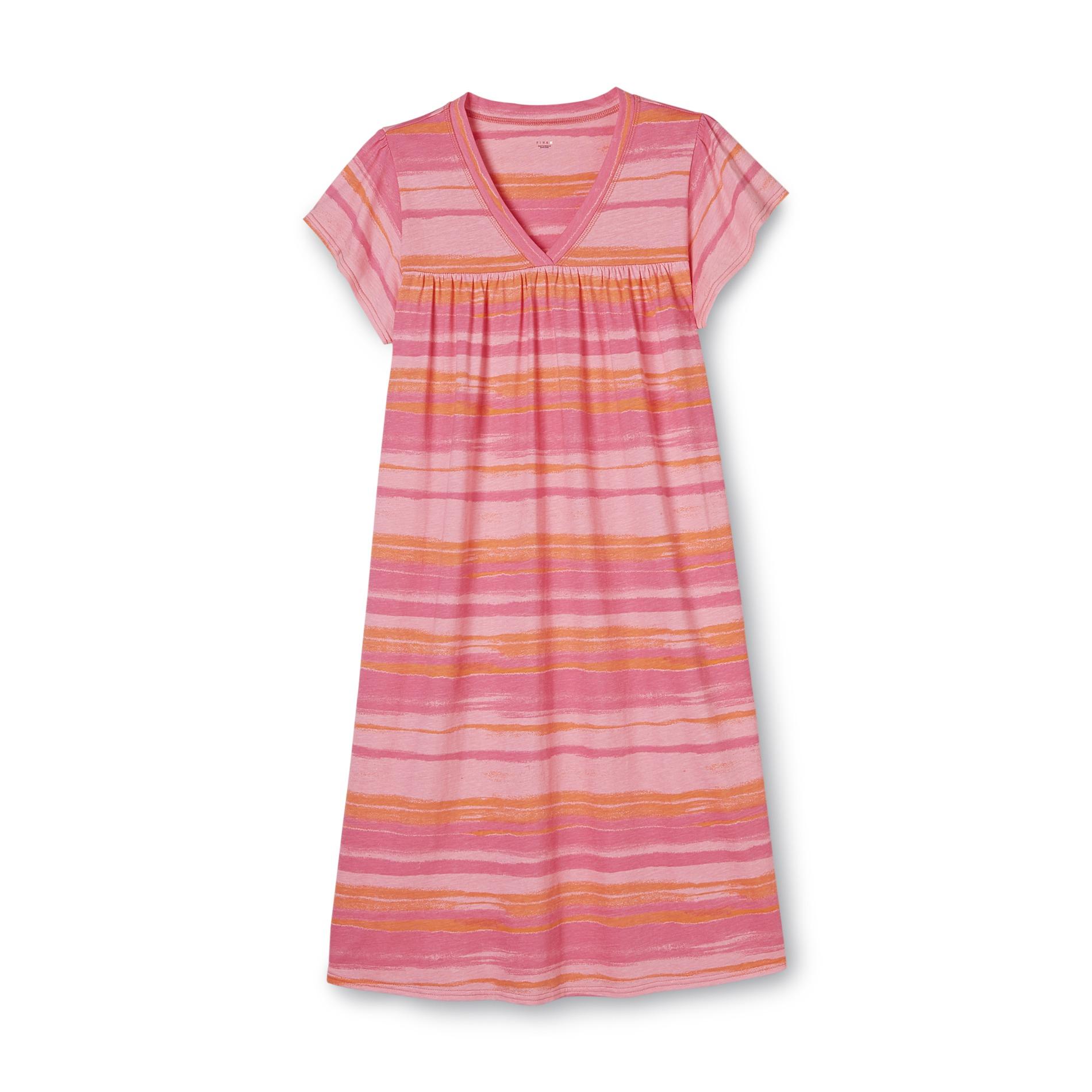 Women's Plus Short-Sleeve Nightgown - Striped