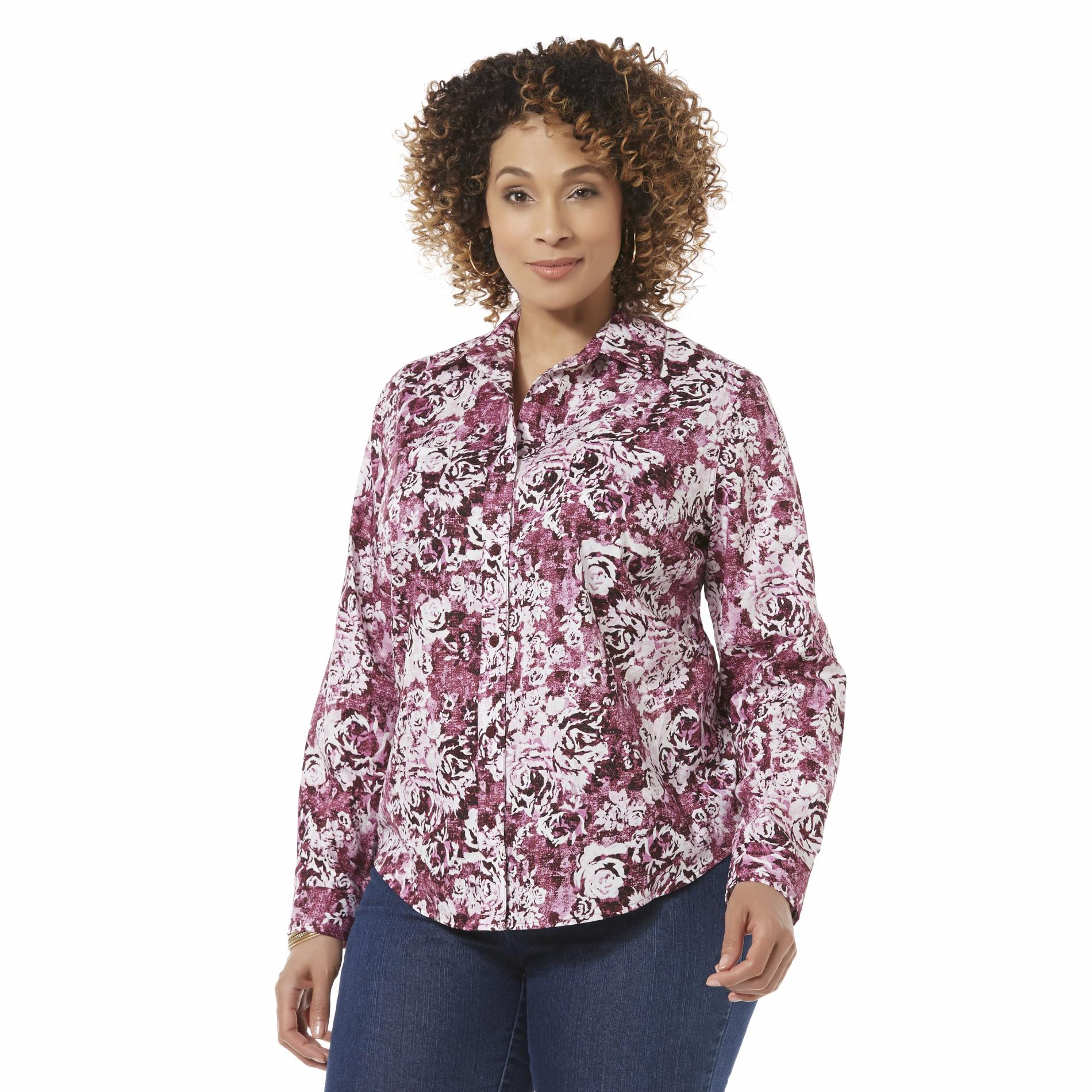 Women's Plus Button-Front Shirt - Floral Print