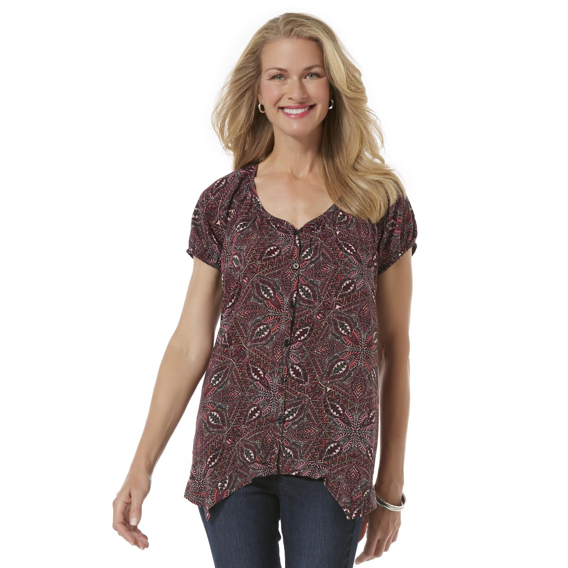 Jaclyn Smith Women's Silky Woven Top - Abstract Geometric