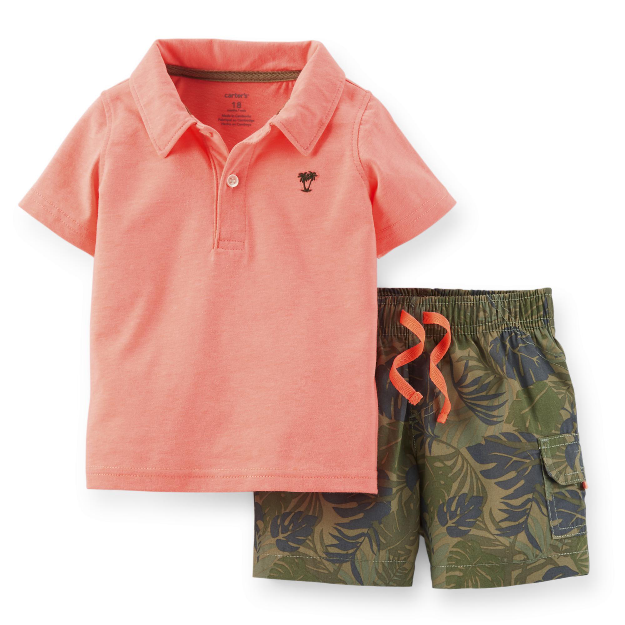 Carter's Newborn Infant & Toddler Boy's Polo Shirt & Cargo Shorts - Leaf Camo