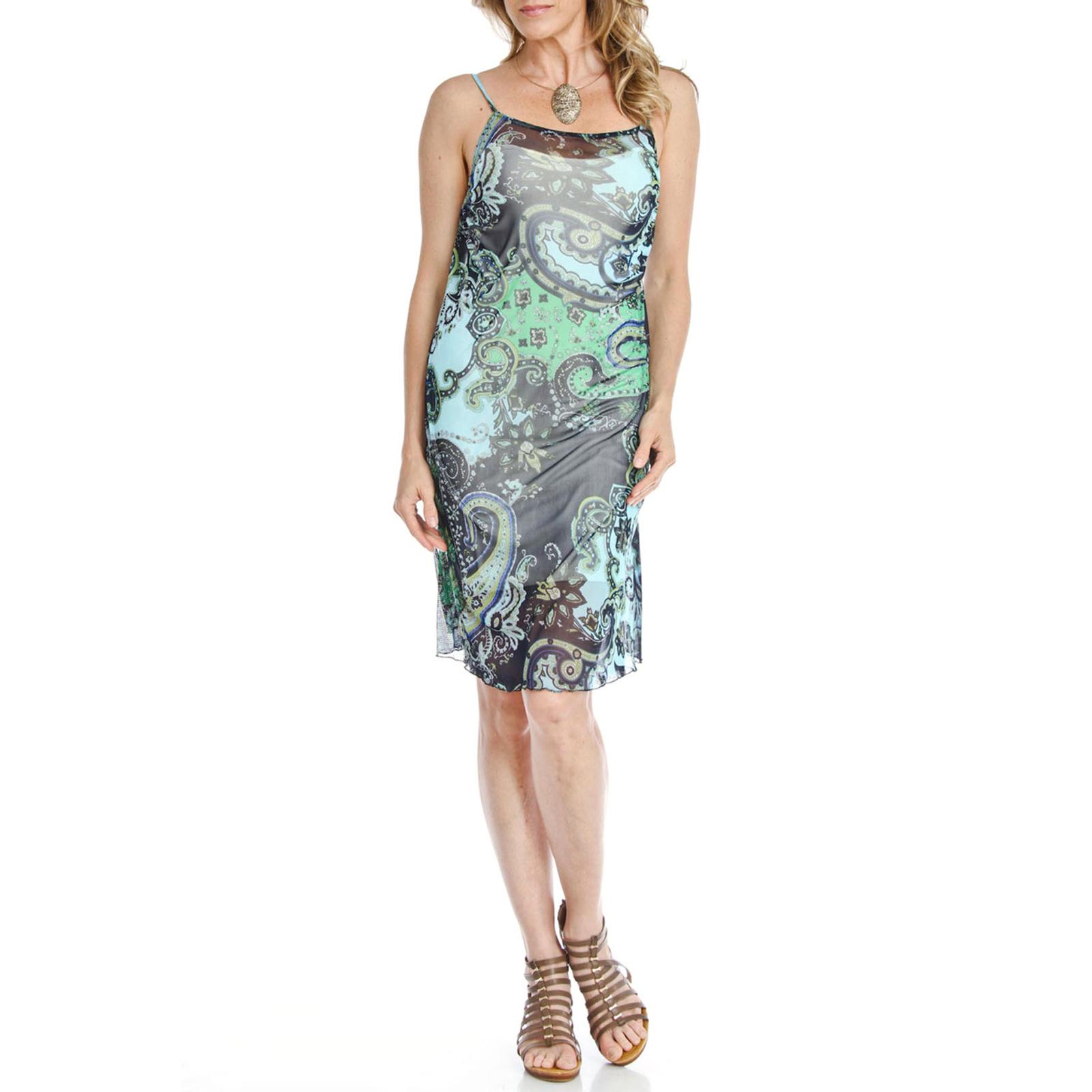 BLUE PLATE FASHION Women's Boho Blue & Green Sleeveless Strap Short Mesh Dress