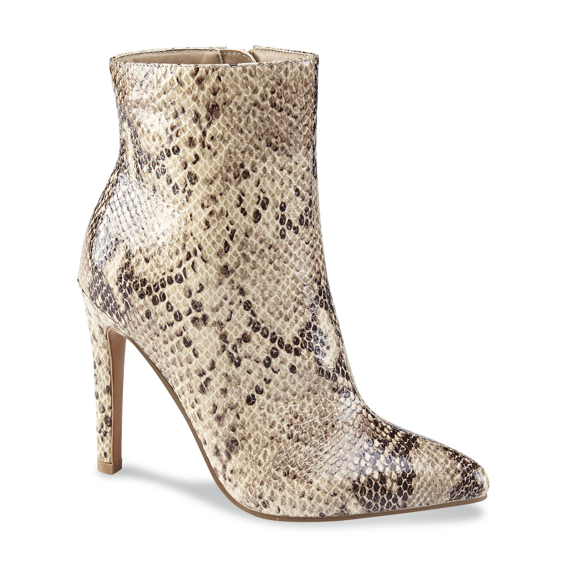 Metaphor Women's Slither Brown/Synthetic Snakeskin Ankle Boot