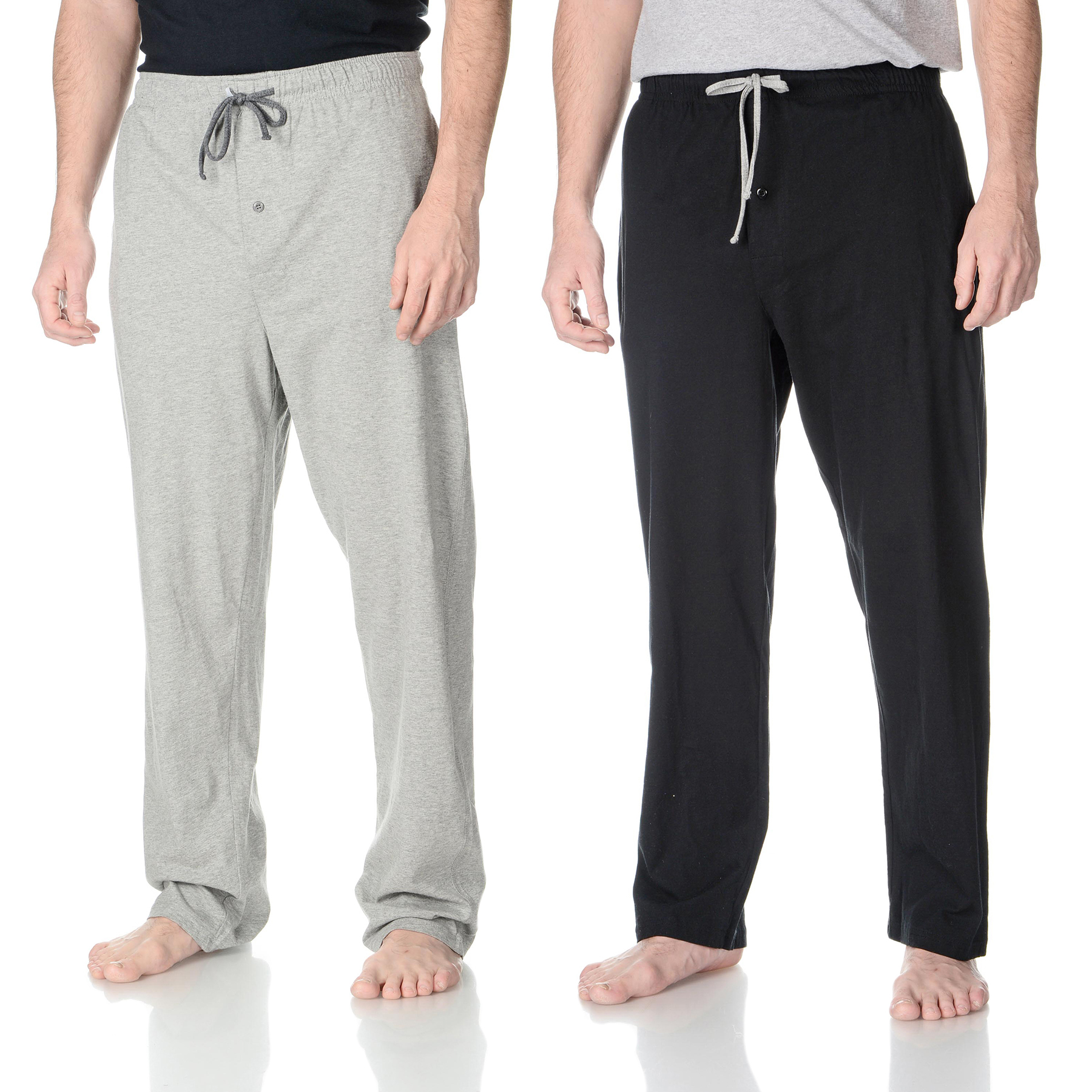 Hanes Men's 2PK Solid Black and Heather Grey Knit Jersey Pants - Online Exclusive PartNumber: 3ZZVA78170212P MfgPartNumber: 4047