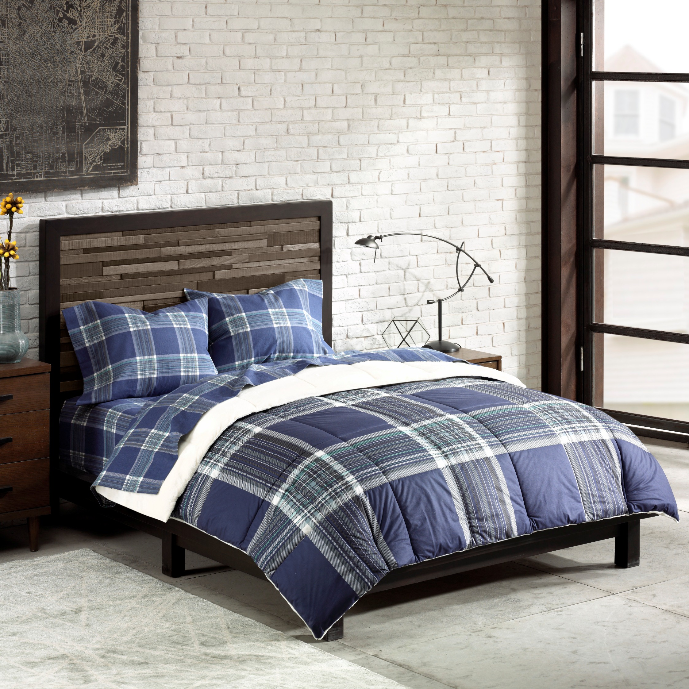 18 flannel plaid comforter quilt bedding full double size b